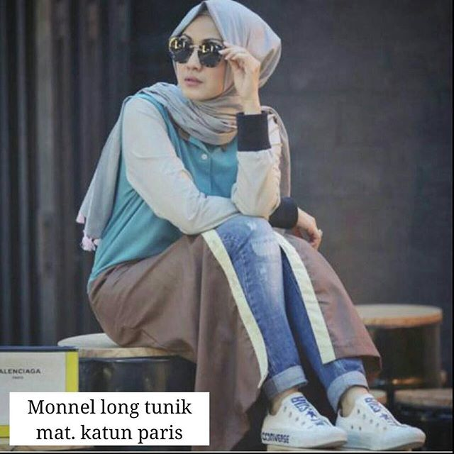 Baju Hijab Murah Monnel Long Tunik