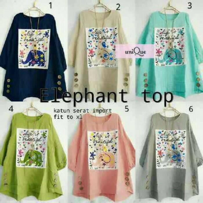 atasan wanita/ blouse/baju hijab trendy/ elephant top