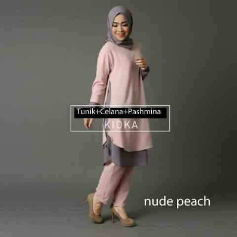 kioka nude peach setelan tunik celana pashmina / baju hijab gorisir