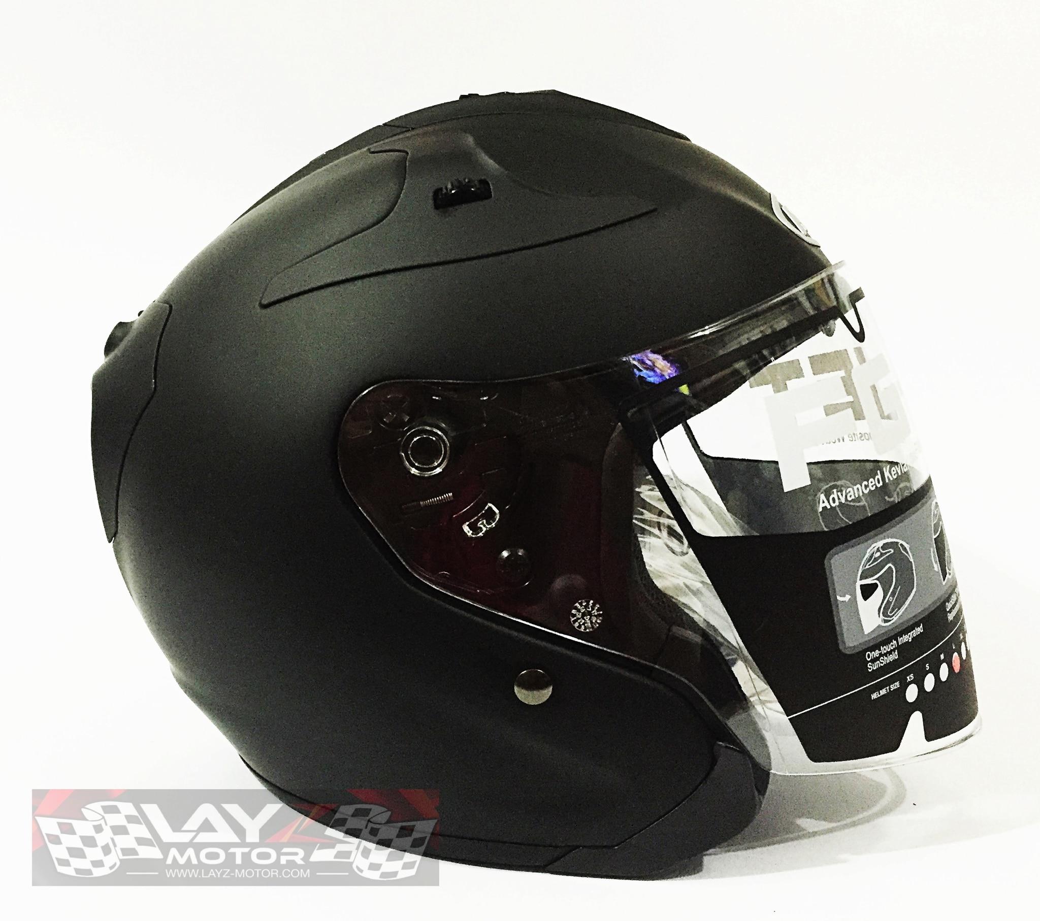 jual helm half face hjc fg jet matte black layz motor tokopedia. Black Bedroom Furniture Sets. Home Design Ideas