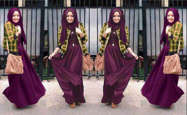 hijab vania kotak ungu hijab set,