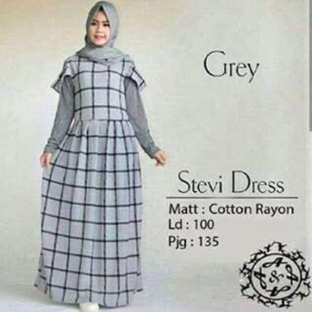 Baju Hijab Murah Stevi Dress Grey