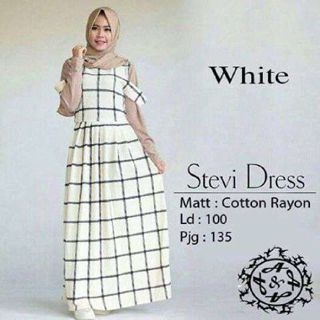 Baju Hijab Murah Stevi Dress White