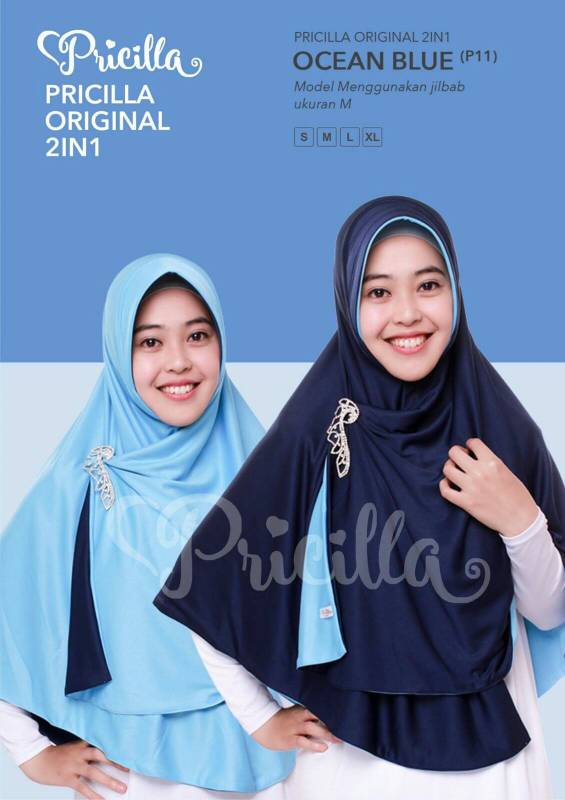 Jilbab / Hijab Instan Pricilla 2 in 1 ( Bolak balik ) Size L
