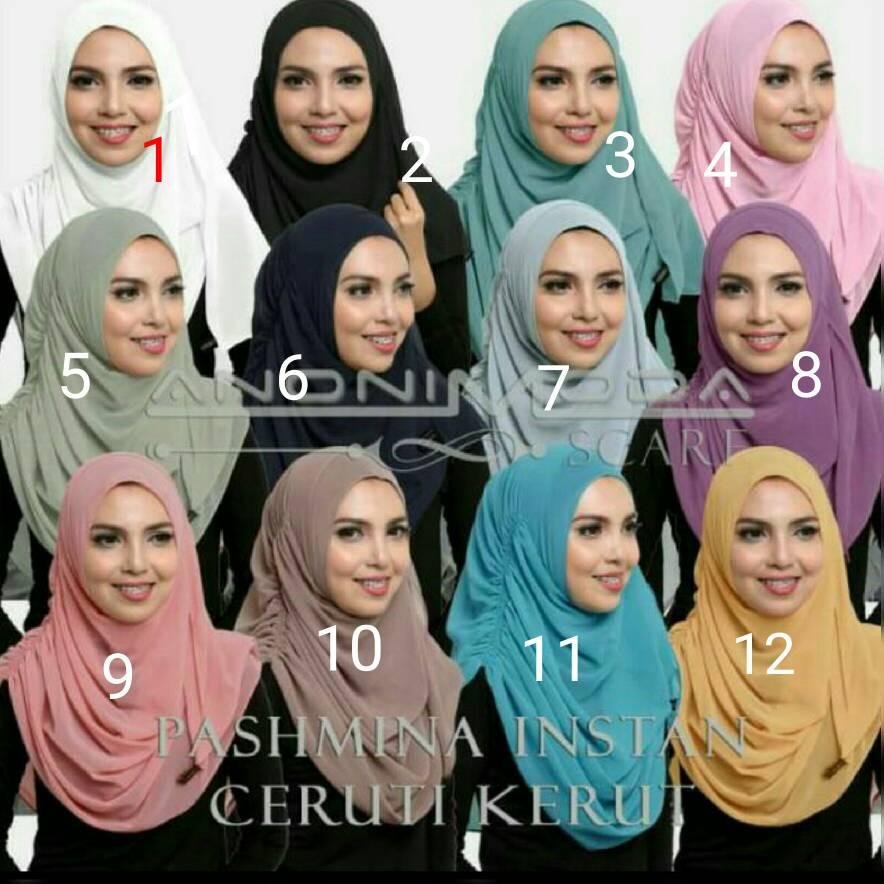 Pashmina Instan Ceruti Serut / Hijab Instan