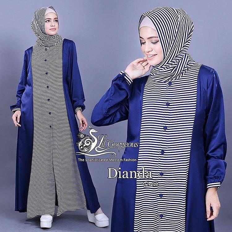 Dianda set blue / baju set muslim / pakaian setelan / hijab murah
