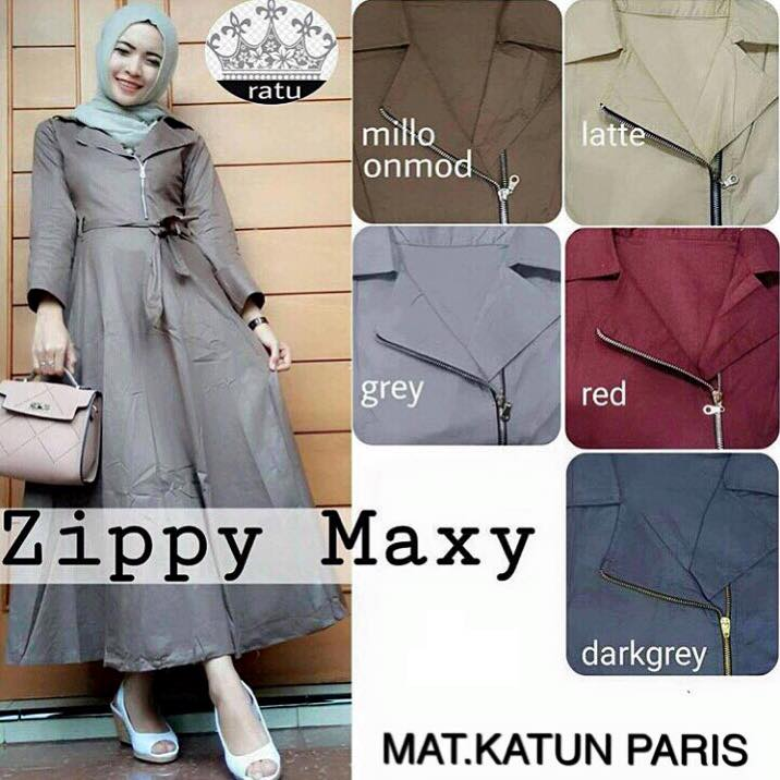 Zippy maxy / dress elegant / baju hijab polos / pakaian hijab grosiran
