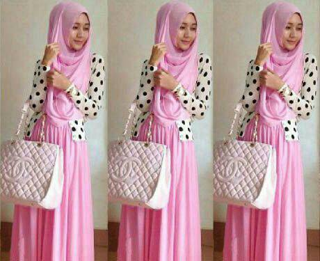 shireen hijab set 3in1 pink / polkadot jersey