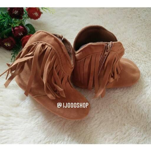 usia 0-12bln sepatu boot bayi rumbai coklat tua