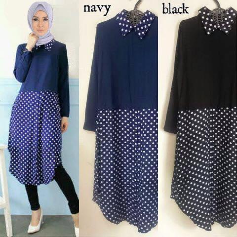 tunka poka / blouse polkadot panjang / hijab ootd ter update murah