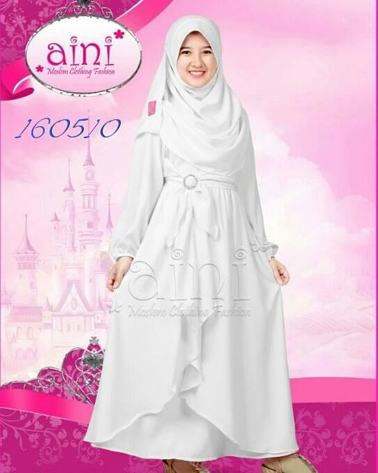 Jual Set Busana Muslim Putih Gamis Jilbab Pesta Anak