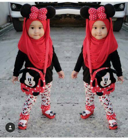 set hijab kid mickey 3in1