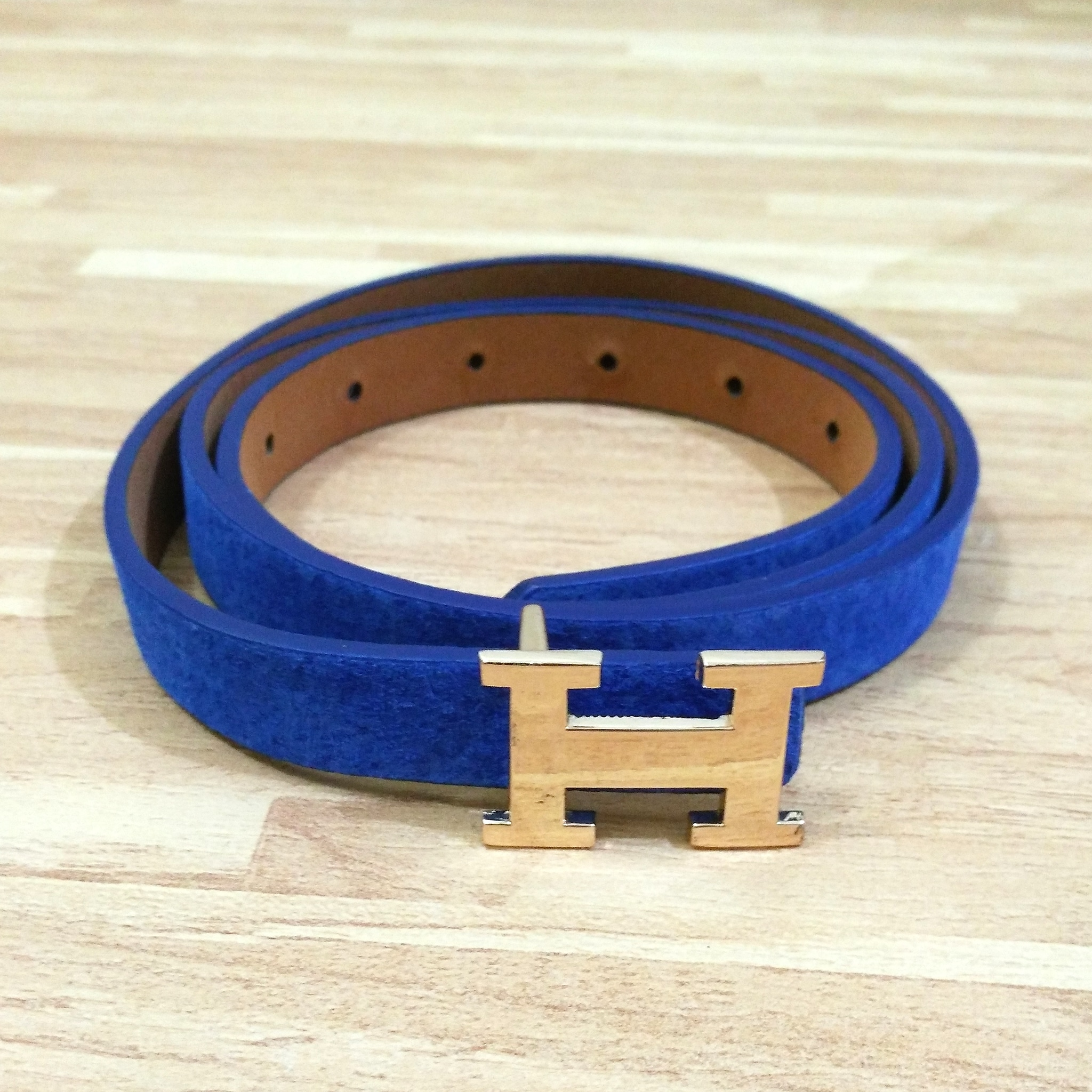 Ban / Ikat Pinggang / Sabuk / Belt Fashion Wanita Biru Hermes Gold