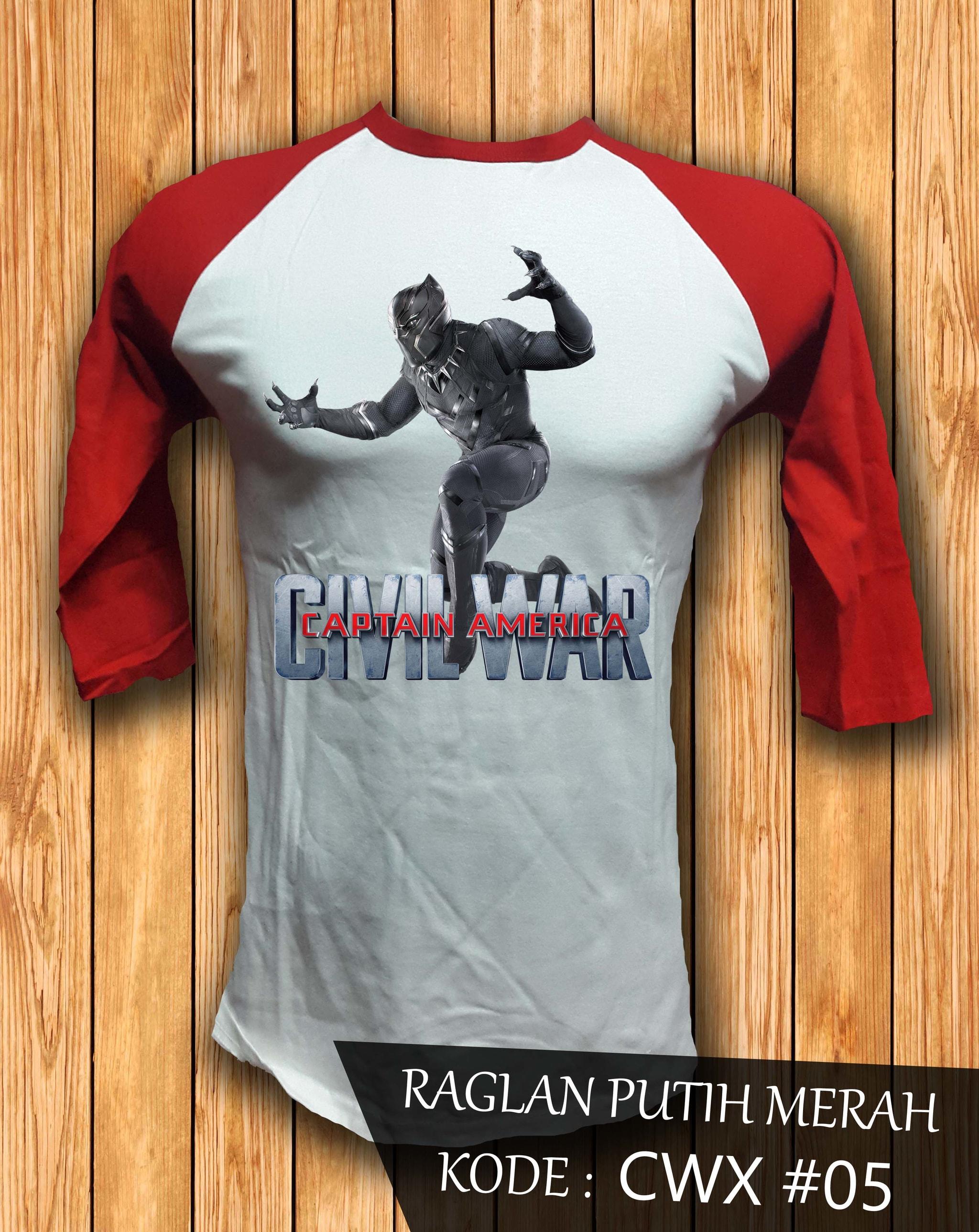 Jual Kaos Baju Raglan 3 4 Tchalla Black Panther Civil War Captain Amerika Merah America Truckerhat Tokopedia