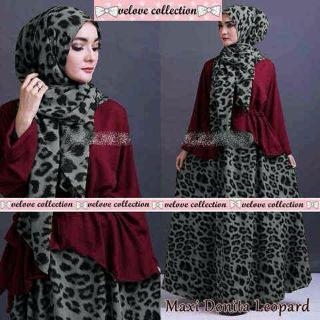 leopard set hijab ( atasan + rok + pashmina )