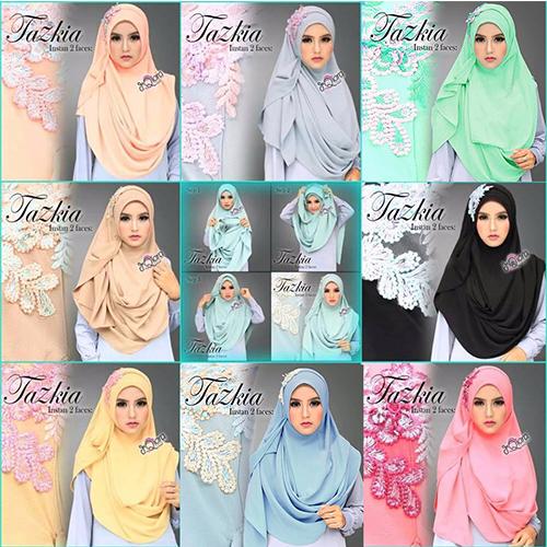 hijab Jilbab Kerudung Pasmina Tazkia Pashmina Instant 2 Faces