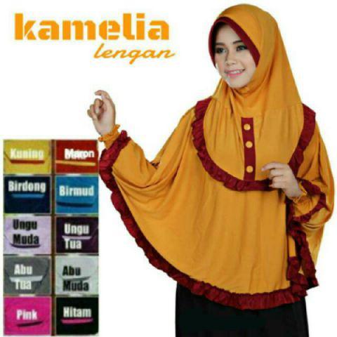 Fashion Busana Muslim Kerudung Jilbab Hijab Kamelia Lengan