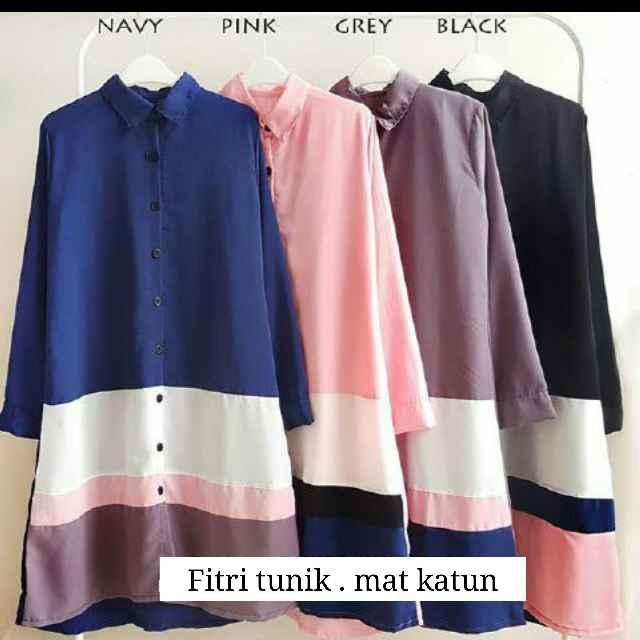 Fitri Tunik/Baju Atasan Wanita/Baju Muslim/Hijab/Blouse/Kemeja cewe