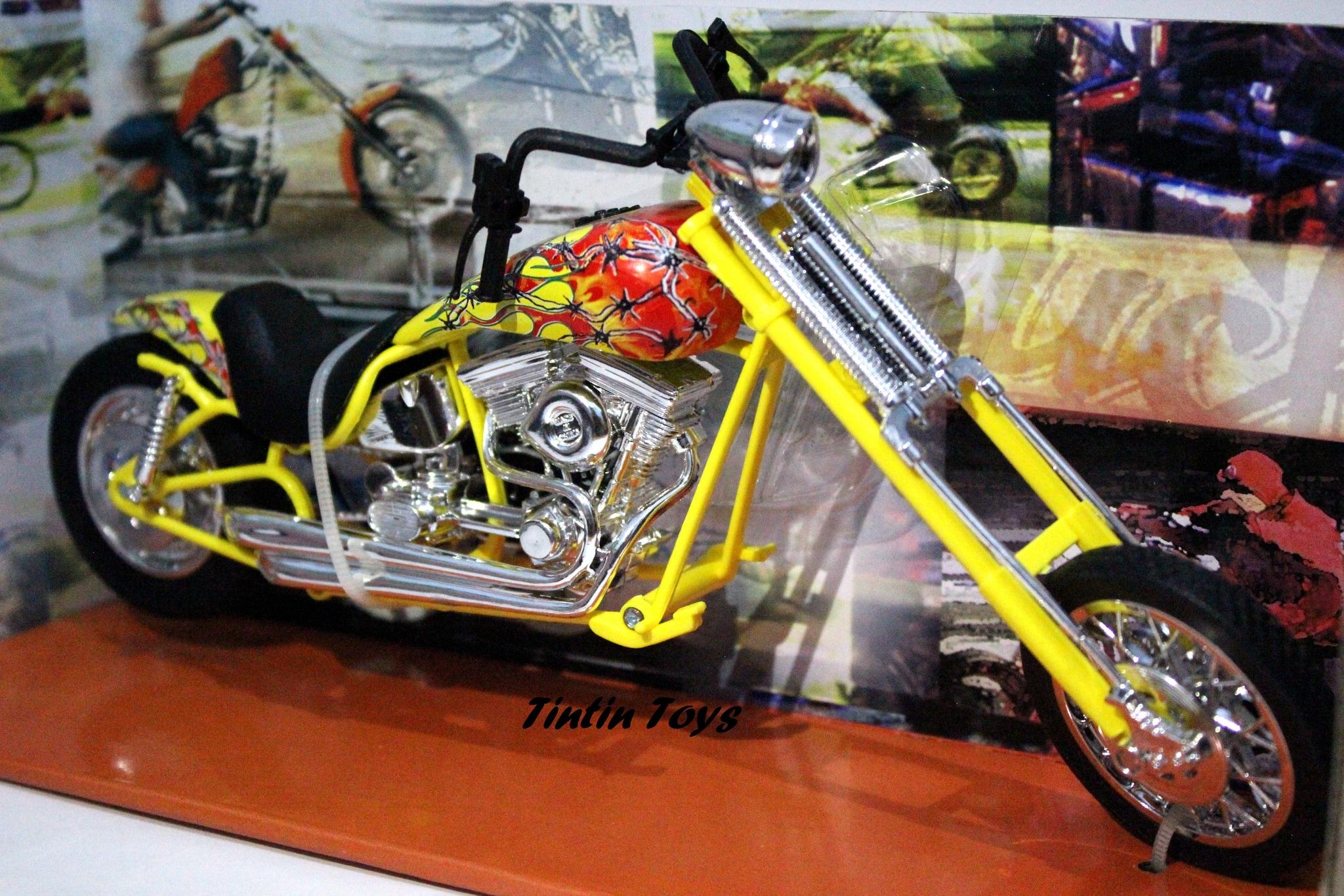 Jual Diecast Replika Motor Newray Choppers Custom Bike Yellow