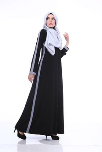 Jual Baju Gamis Murah Bahan Jersey Ukhti U 173 Hitam Raja Baju