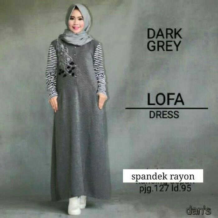 Lofa Dress Dark Grey / gamis / dress muslimah / grosir hijab murah