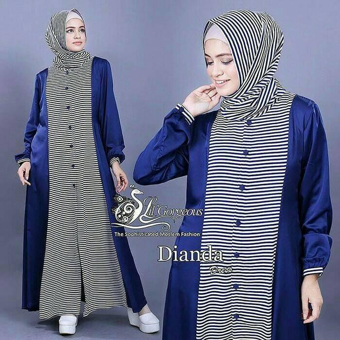 Dianda Set Blue / gamis / dress muslim / setelan hijab / pashmina