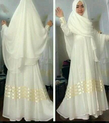 SC201 gamis putih wanita muslim ayuna hijab white fit L