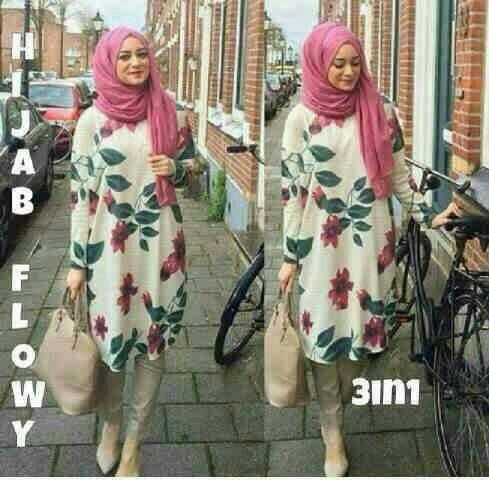 setelan flower hijab dpt tunik,leging n pashmina