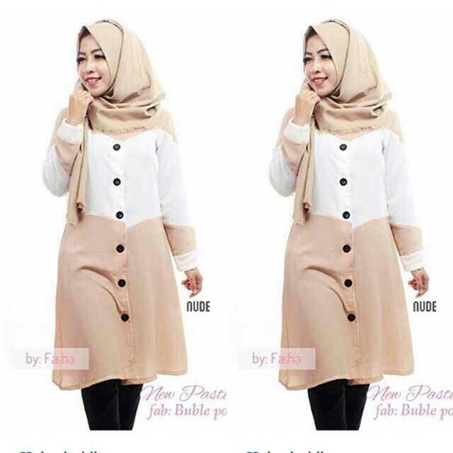 Baju Hijab Murah Salmon Tunik Mocca
