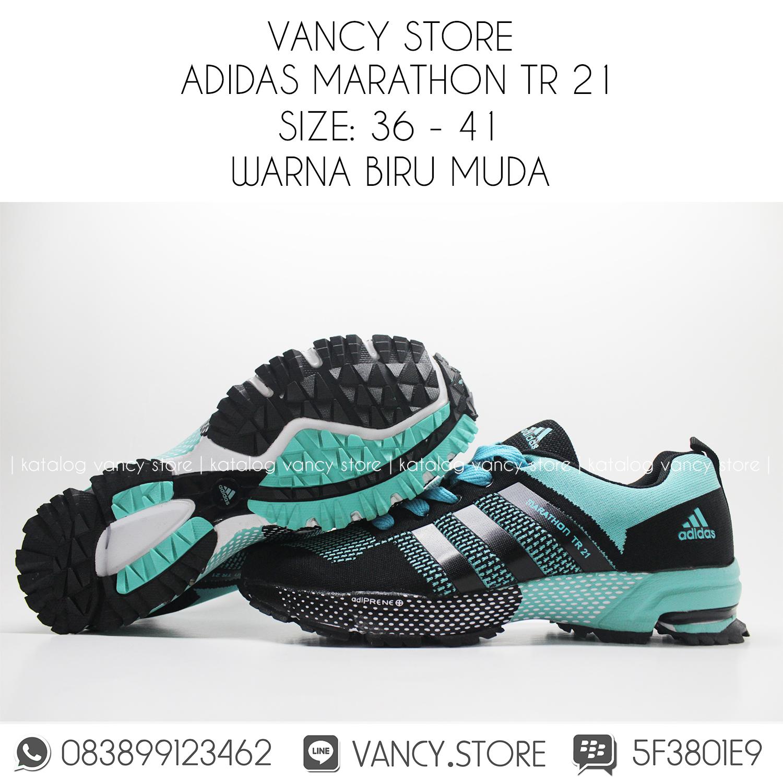 Jual SEPATU ADIDAS MARATHON TR21 BIRU HITAM GRADE ORIGINAL VancyStore