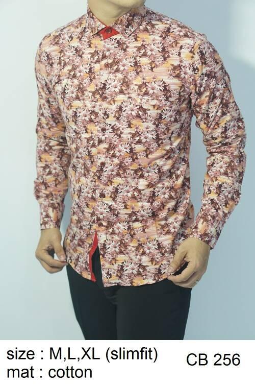 Jual Baju Batik Kemeja Pria Slimfit Cb 256 Slim Fit