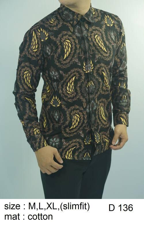 Baju Batik Kemeja Pria Slimfit D 136 - Slim Fit Keren