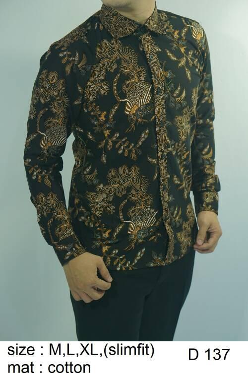 Baju Batik Kemeja Pria Slimfit D 137 - Slim Fit Keren