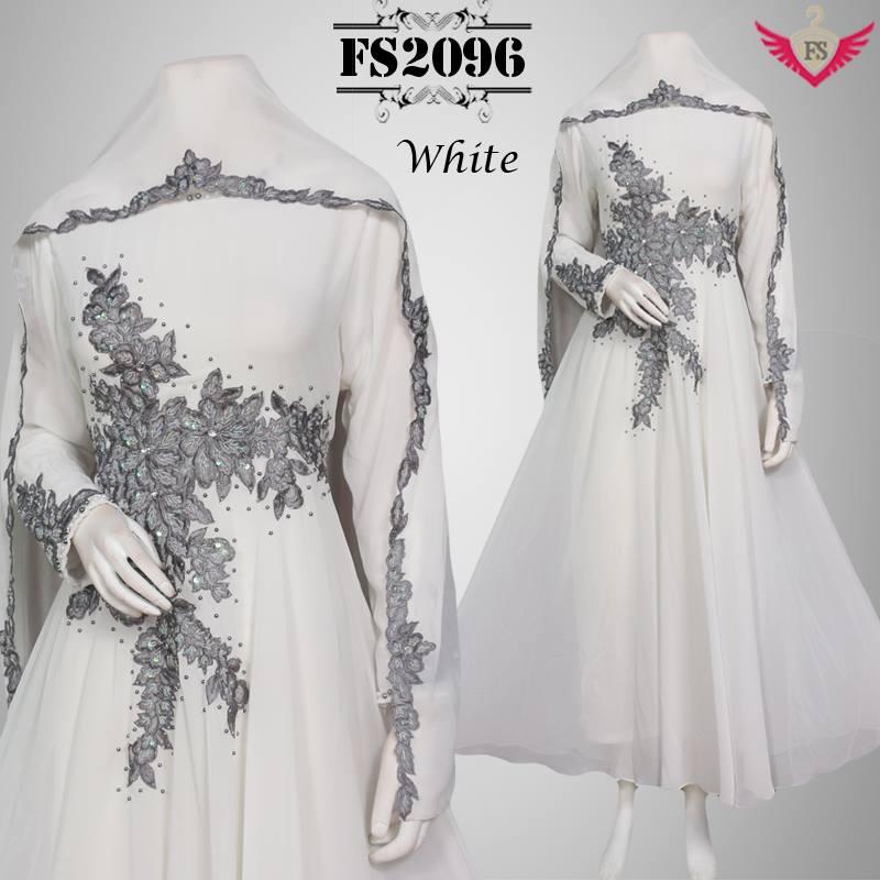 Jual Baju Muslim Putih Anggun Mewah Lebaran Model Terbaru
