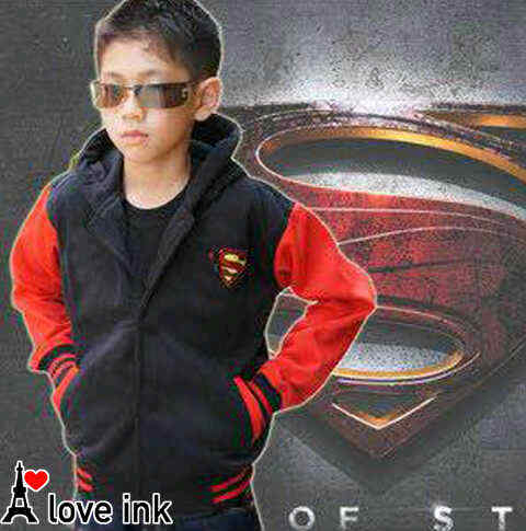 JKKDL53 - Jaket Anak Laki Superman Black Babyteri