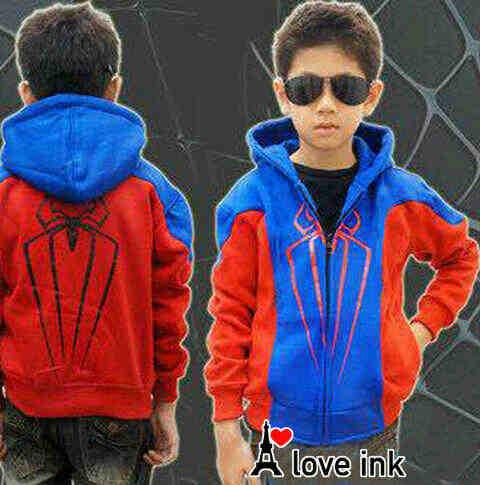 JKKDL52 - Jaket Anak Laki Spiderman Blue Babyteri