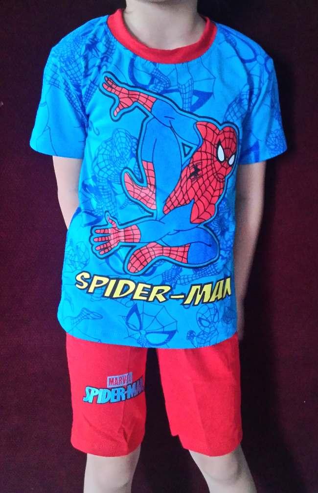 STKDL193 - Setelan Anak Laki Marvel Spiderman Blue Red Murah