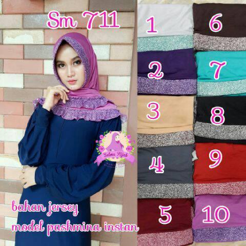 sm711 jilbab hijab kerudung pasmina instan jersey