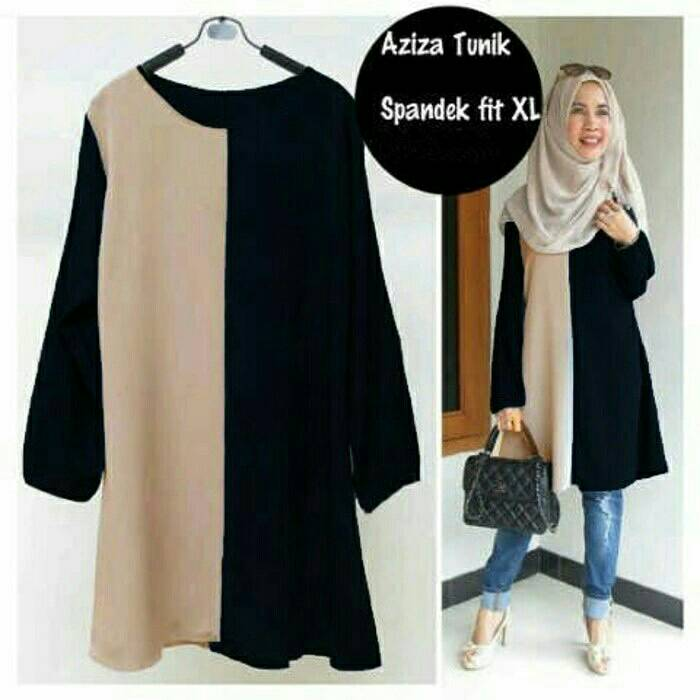 Dress Tunik Panjang Muslim Hijab Warna Kaos