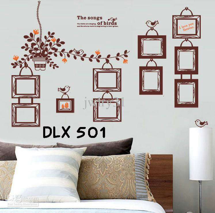 jual wallsticker uk.60x90 wall stiker frame coklat vintage - wall