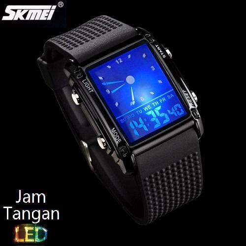 Jual Skmei Unlock Hitam 0814g Original 100 Jam Tangan Flash Led