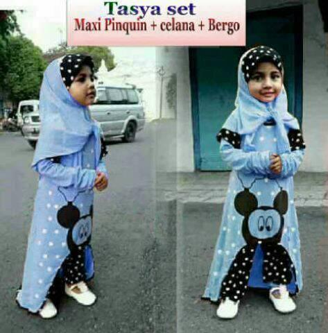 Tasya set turkis hijab kid