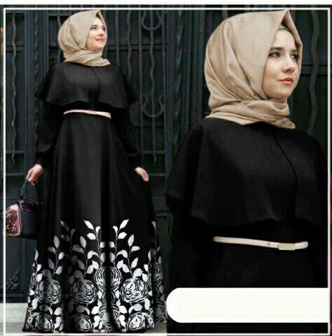 Hijab Andiani Rose Hitam+belt
