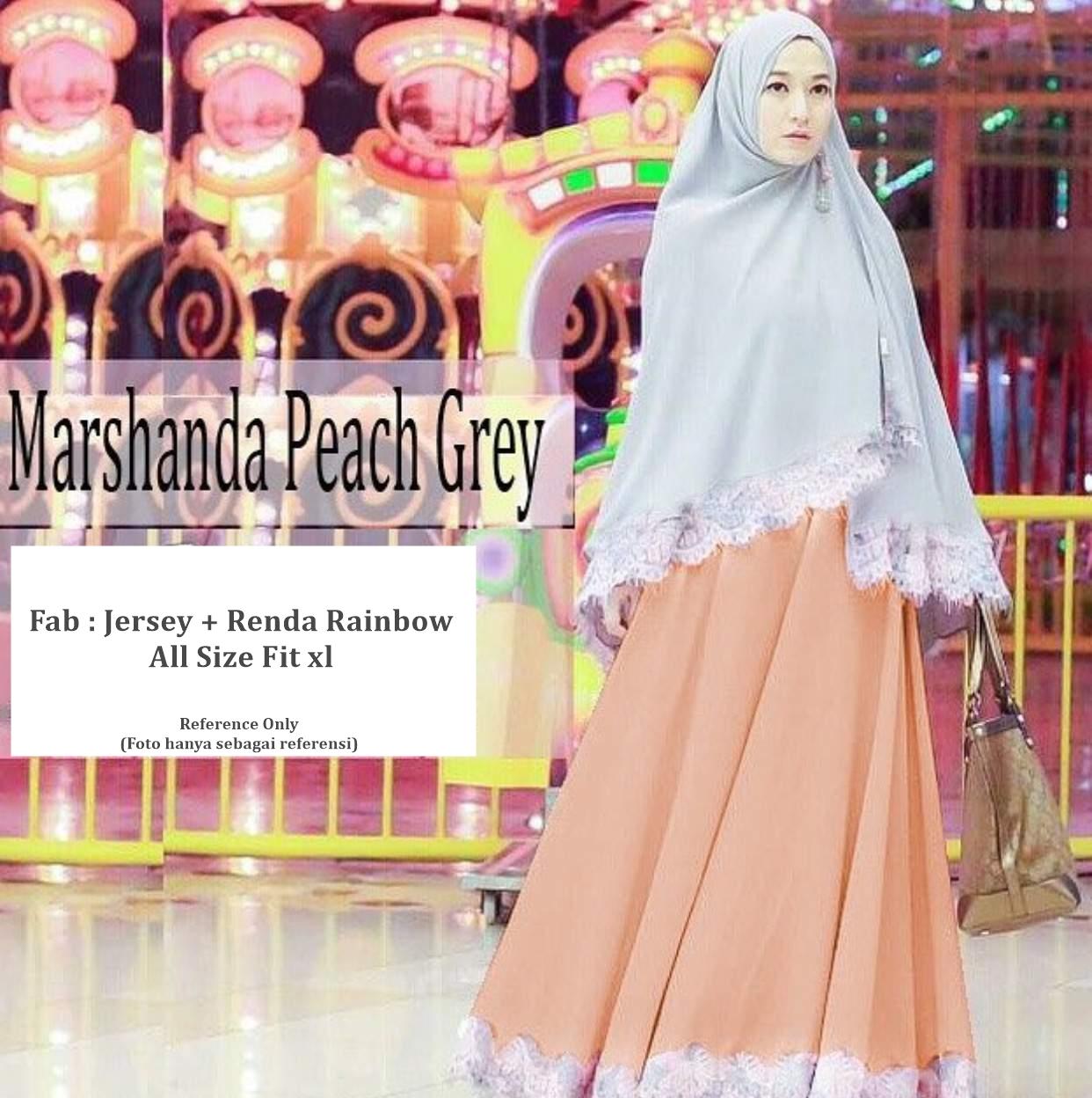 Jual Baju Dress Muslim Wanita Aisyah Peach Gamis Maxi Syari Khimar Long Vienvy Shop Tokopedia