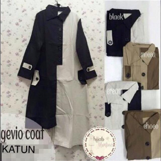 Gevio coat / baju panjang muslim / pakaian model baru/ hijab unik