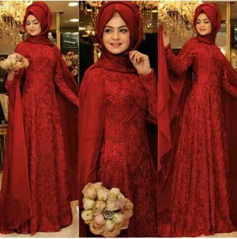 hijab alexa marun bhn brukat lapis furing+phsmina spndex fit L