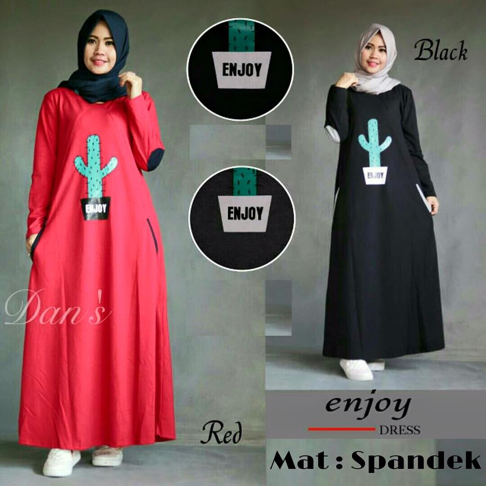 Enjoy longdress / gamis kaos hitam merah / hijab daily murah meriah