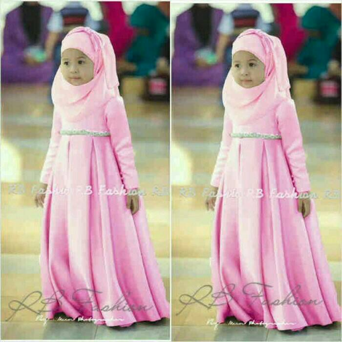 Jual Dress Anak Perempuan Gamis Kecil Tosca Hijab Set Kids