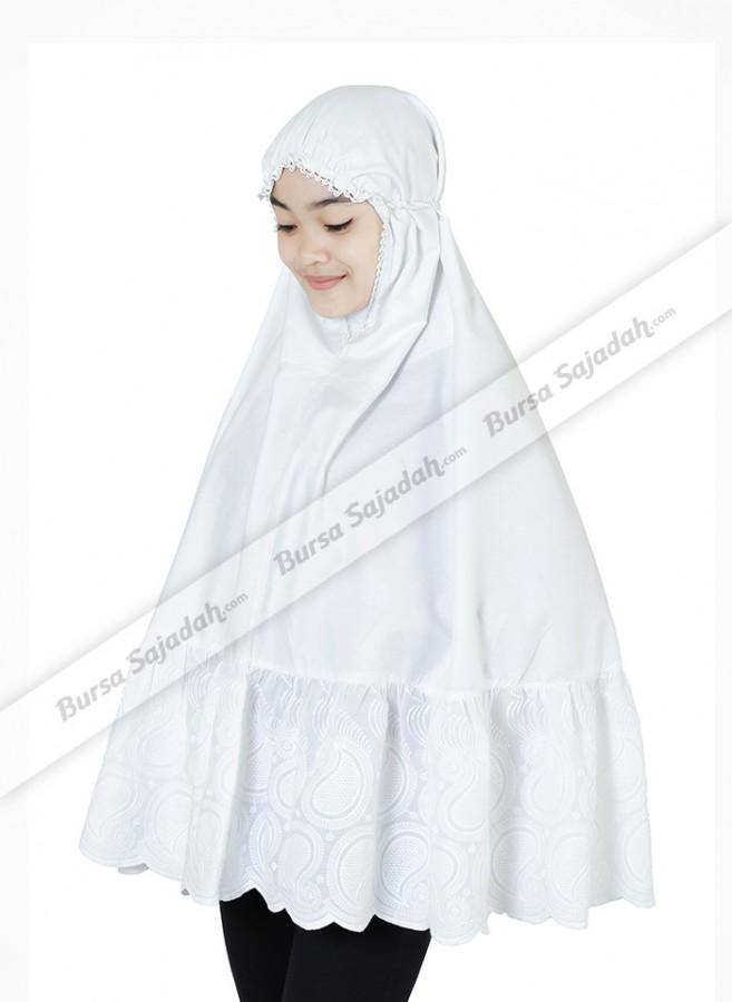 Kerudung Jilbab Hijab Instan Syari Motif Putih - Malaya Haji Jumbo