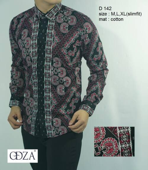Odza Batik Kemeja Slim Fit D142 - Batik Slimfit Keren D 142
